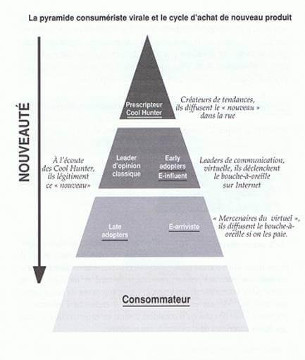 Pyramide hiérarchique des influenceurs dans un processus viral