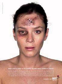 Campagne de Women's aid, Royaume-Uni, 2007 What does it take to get people talking about domestic abuse ?