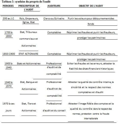 Notion sur l'audit - L'audit: Notion, domaines, historique et rôle - Synthèse du progrès de l'audit