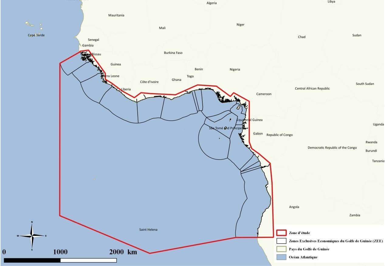 nappes d'hydrocarbures dans le Golfe de Guinée - Localisation de la zone d'étude dans le Golfe de Guinée et les zones économiques exclusives des différents pays