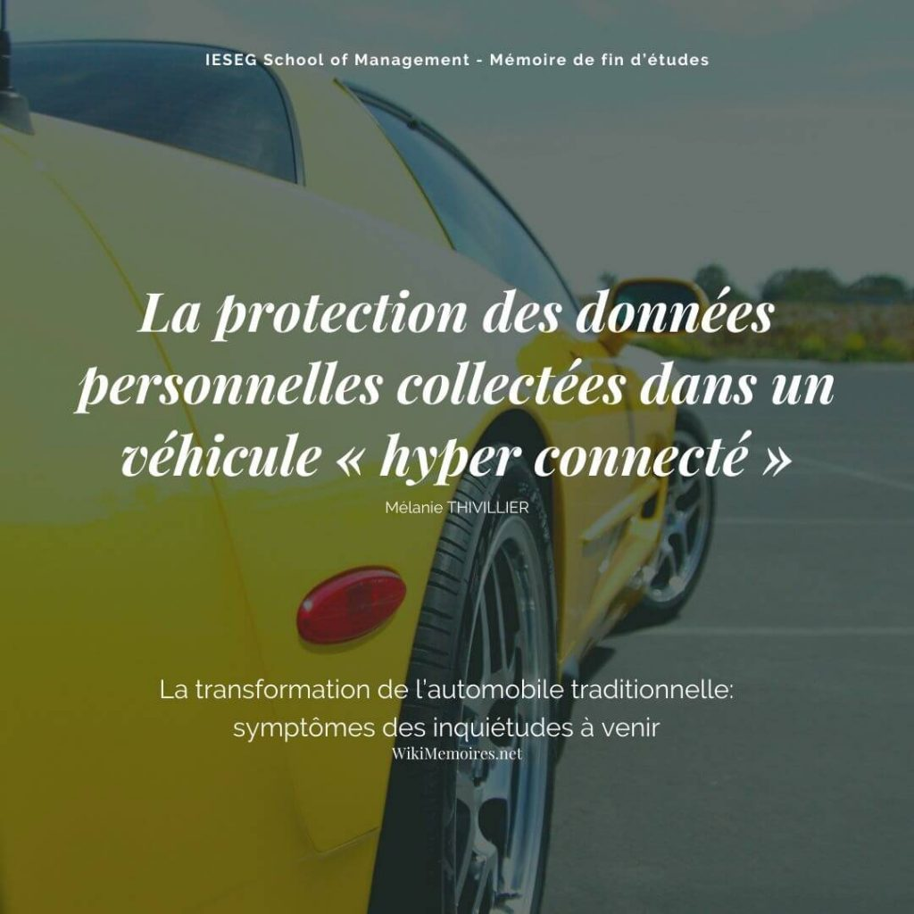 Véhicule connecté: la protection des données personnelles
