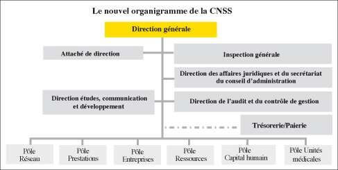 Organigramme général du la CNSS caisse nationale de sécurité sociale